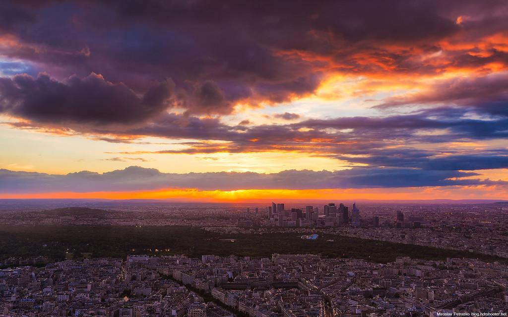 Perfect sunset in Paris 1920x1200