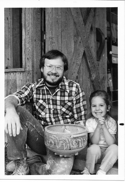 Heather & Dad at Potters Mark Entrance1978