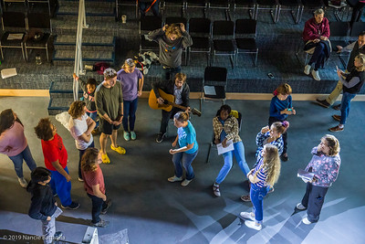 Scene at WallyPAC, a production of Good Queen Bess (2019 edition) the first play and rehearsal in the recently opened performing arts center and facility at NCS/CTT. photo by Nancie Battaglia