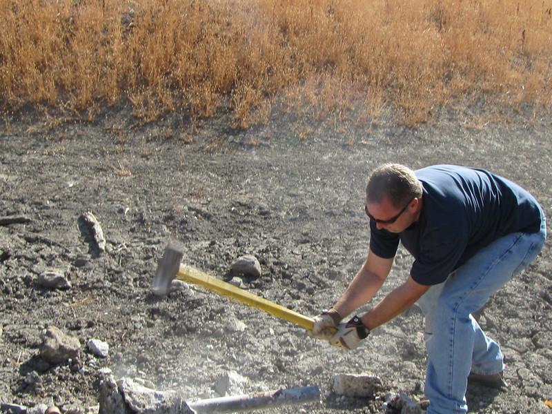 Sean sledges concrete fence post anchor.