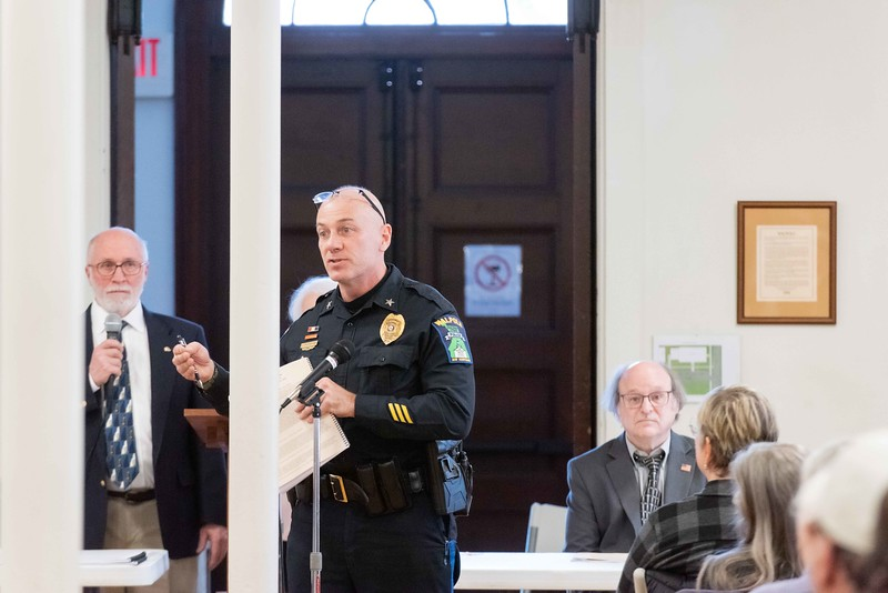 KELLY FLETCHER, REFORMER CORRESPONDENT -- Police Chief, Michael Paquette, talks about the need for a new police vehicle for the Walpole Police Department at town meeting on Saturday.