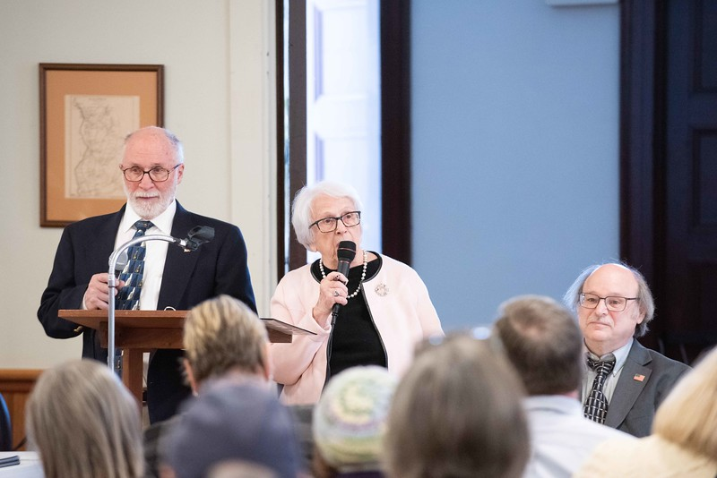 "KELLY FLETCHER, REFORMER CORRESPONDENT -- Ernest, ""Ernie"" Vose, town moderator (left), and selectboard members, Peggy Pschirrer and Steve Dalessio, officiate Walpole's town meeting on Saturday."