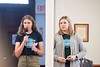 KELLY FLETCHER, REFORMER CORRESPONDENT -- Ruby Frithsen and Sidney Curven speak to Walpole town meeting attendees about their proposed plastic bag ban.