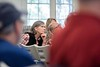 KELLY FLETCHER, REFORMER CORRESPONDENT -- Wendy Grossman listens to a discussion about the effects that current dam operations have on the health of the riverbanks at Walpole's town meeting on Saturday.