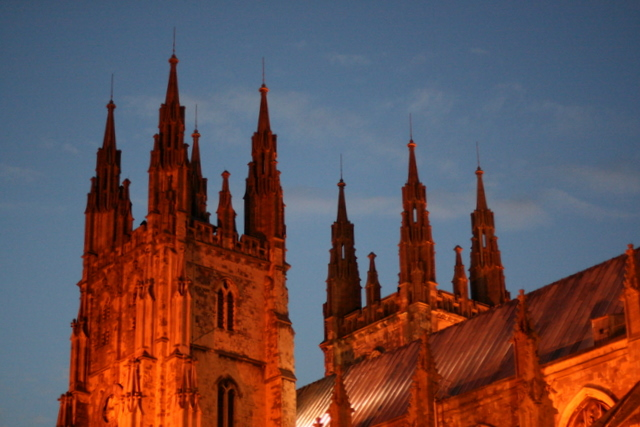 Canterbury Cathedral - West front at sunset