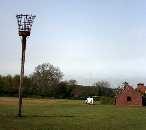 Cricket pitch with signal light