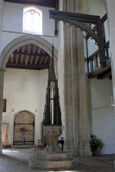 Baptismal font and 15th century mechanism for cover