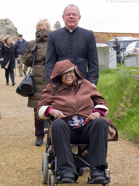 Fr. Andrew wheels Sybil Boggis toward Bingham Abbey
