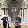 Joe Hobson, Patrick White, Fr. Andrew and Sybil Boggis in front of the church door.