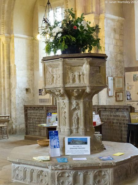 Baptismal font in Bingham Abbey church