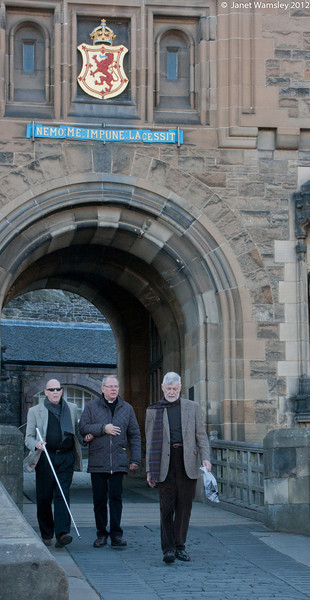Joe Hobson, Fr. Andrew and Patrick While leave Edinburgh Castle