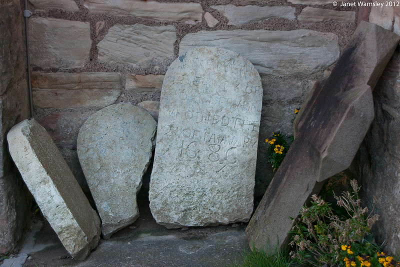 Gravestones from Lindesfarne graveyard - 1686 date is visible