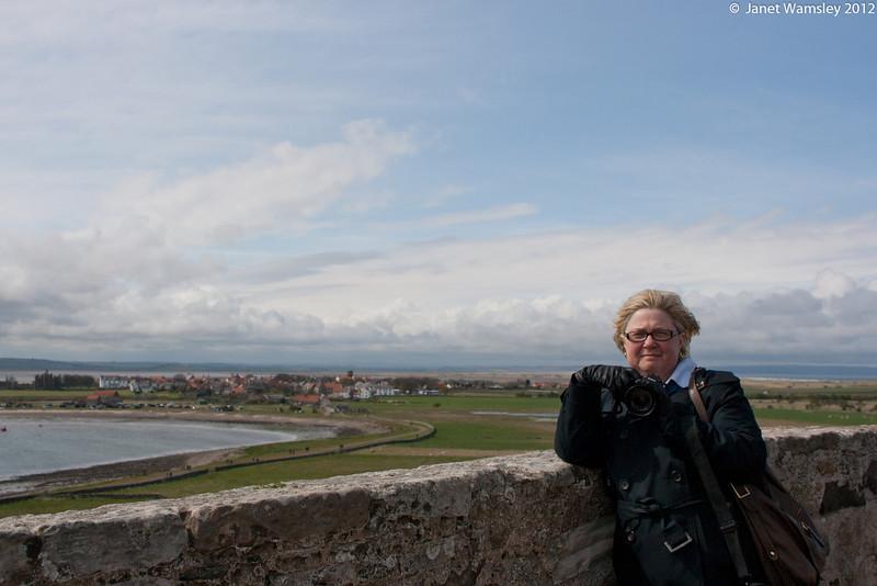 Kathy Dirks on the castle balcony