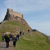 Climbing the hill to Lindesfarne Castle