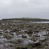 Mud, sand, seaweed, rocks -- and the cross on Cuthbert's Island in the distance