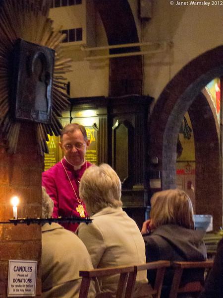 Bp. Lindsay speaks to the day pilgrims