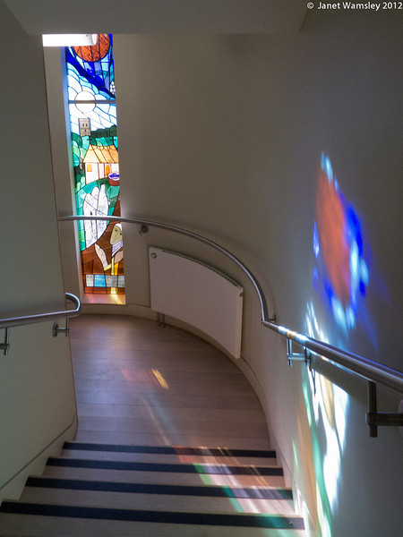 Milner Hall stairway and stained glass
