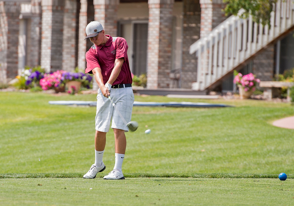 . Berthoud\'s Ridge Overholt tees off Wednesday afternoon during the Walt Clark Invitational at the Olde Course in Loveland. (Photo by Michael Brian/Loveland Reporter-Herald)