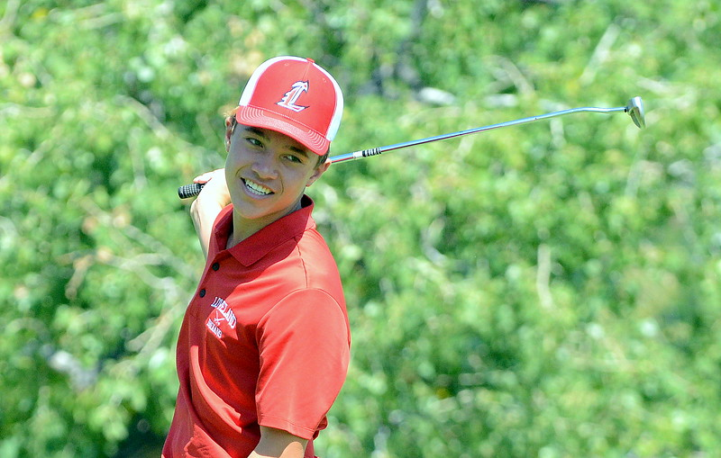 Jaxon Cabrera of Loveland swings back his putter as his attempt went awry during the Walt Clark Invitational on Wednesday at the Olde Course in Loveland. (Mike Brohard/Loveland Reporter-Herald)