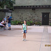Evelyn outside the entrance to Animal Kingdom