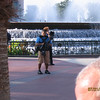 Film crew doing something at Epcot before the park opens