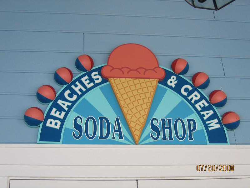 Beaches & Cream Soda Shop sign