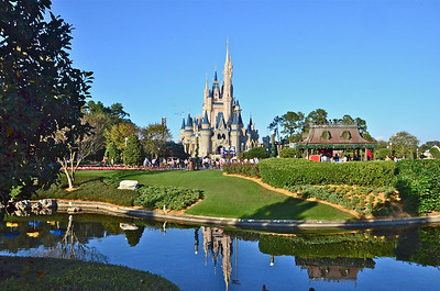 A view of Cinderella's Castle from the walkway in front of the Krystle Palace restaurant.