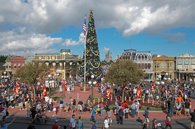 View from train station looking down main street toward Cinderella's Castle. This was taken at Christmas December 17th 2011.