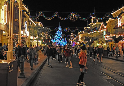Main street in the Magic Kingdom looking down toward the castle. This was taken at 11:52PM or almost midnight.