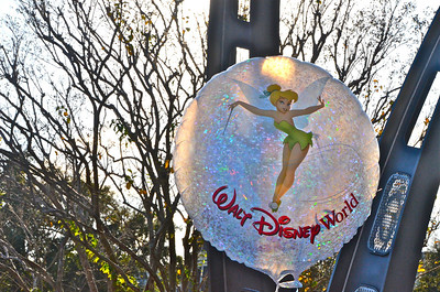 Balloon a child was carrying with Tinker Bell on it.