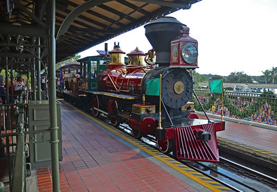 Train arriving at the train station at the Magic Kingdom