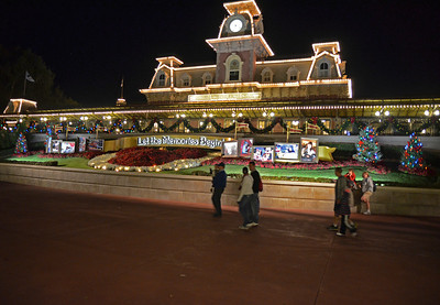 Night shot of train station arriving at the Magic Kingdom. This was taken at 9:30PM