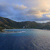 Brandywine Bay, Tortola at sunrise as the Disney Fantasy enters Road Town harbor.