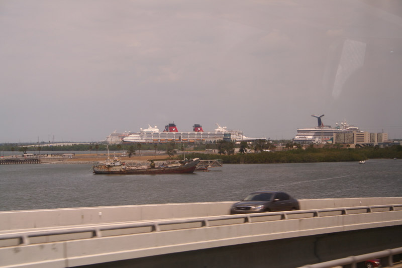 Approaching Port Canaveral.  There are three ships in Port.  You can see the Disney Magic and one of the Carnival Glory.  I think the Carnival Elation was also in dock.