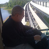 On the monorail from the gate to the terminal at the Orlando Airport.