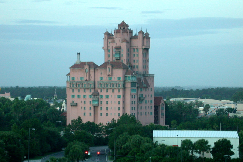 View of the Tower of Terror at Disney's Studios from our room in the Swan resort at Walt Disney World.