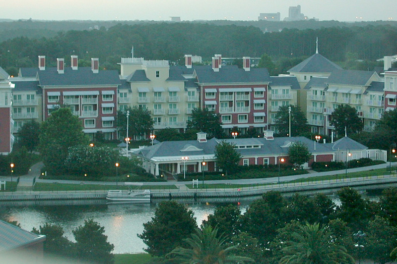 The Boardwalk Villas portion of Disney's Boardwalk Inn and Villas from our room at the Swan resort at Walt Disney World.