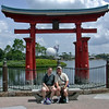 Dirk and Jim under the gate at the Japanese Pavilion in Epcot.
