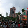 Tower of Terror with storm clouds and Sunset Blvd.