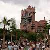 The Twlight Zone Tower of Terror looms over Sunset Boulevard at Disney's Hollywood Studios.