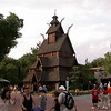 The stave church in the Norway Pavilion.