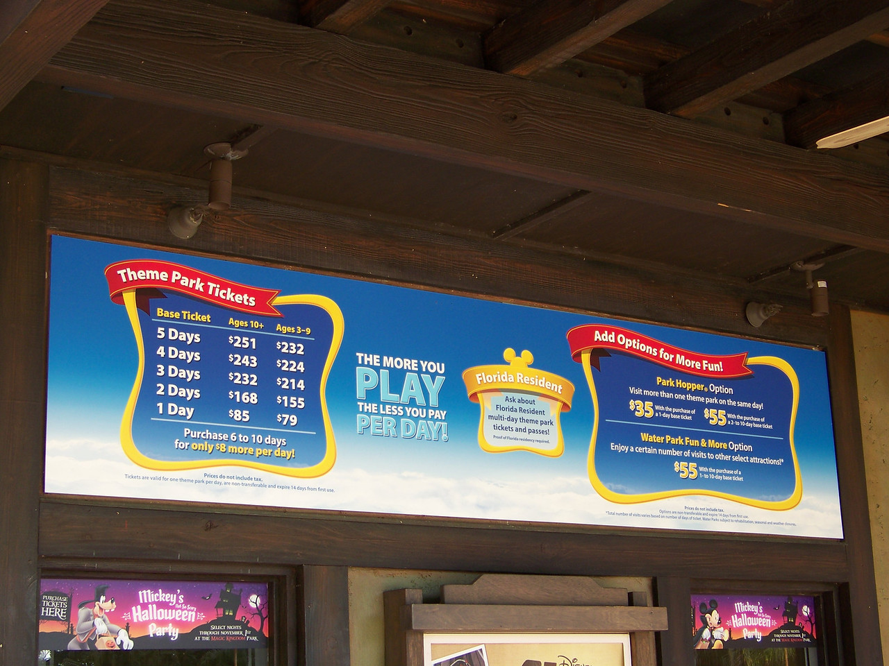 For the official record, these were the admission prices during this October 2011 trip.  If you walked up to any of the four WDW parks and only wanted to visit that park on one day, it would be $85 for an adult.  But how many people actually do that?<br /> [Disney's Animal Kingdom]