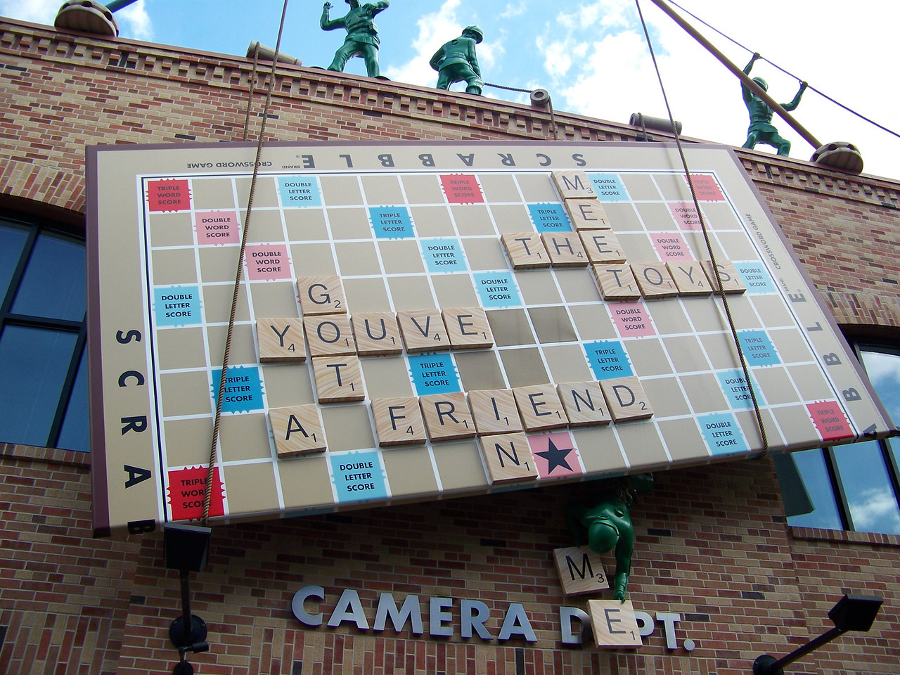 The little green army men are trying to tell us something via the Scrabble board....<br /> [Disney's Hollywood Studios]