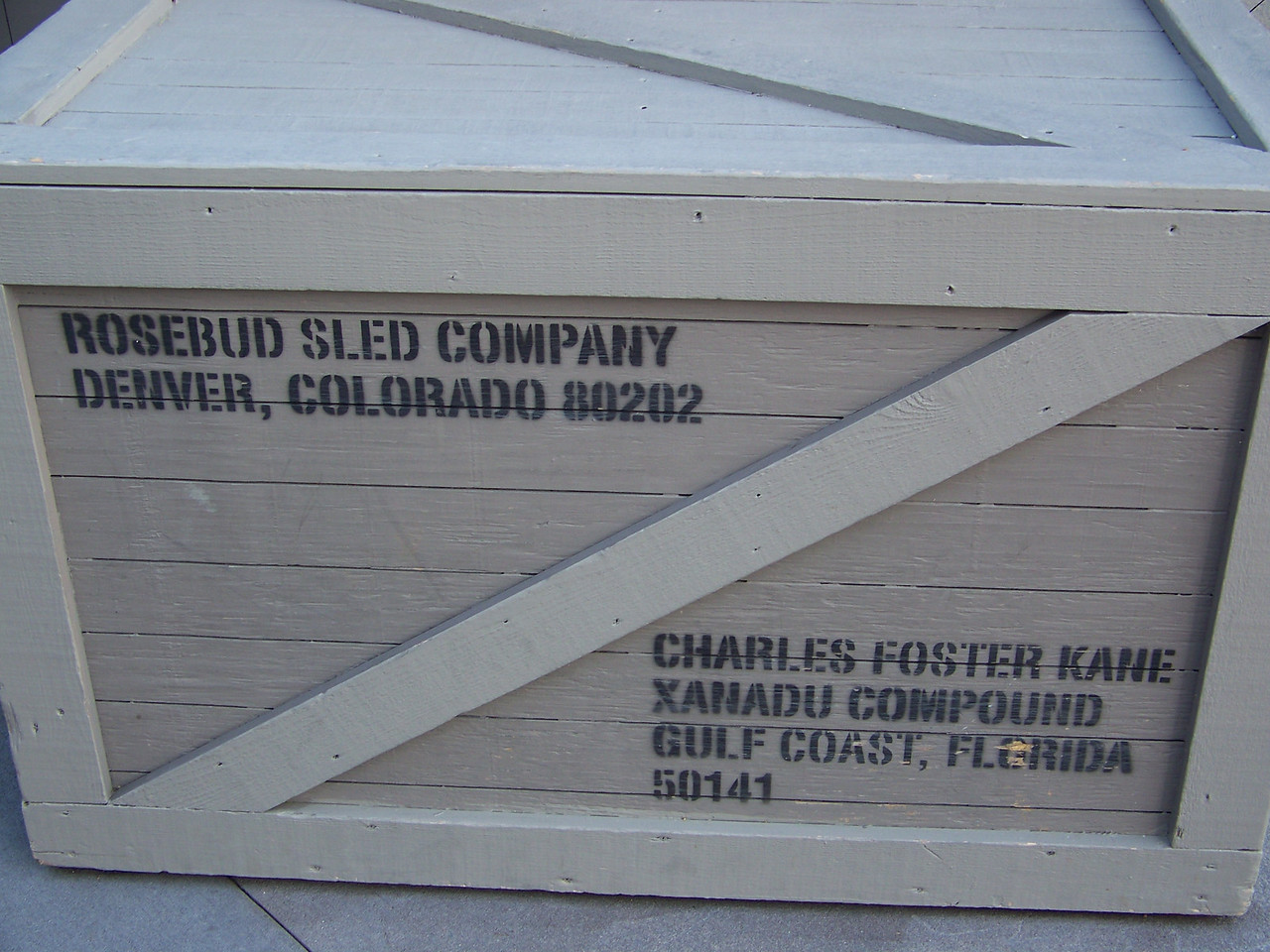 This crate is a reference to Citizen Kane.  The title character (Charles Foster Kane) lived in a huge mansion called Xanadu.  Shhhh!  Don't tell anyone, but Rosebud was his sled!  :-)<br /> [Disney's Hollywood Studios]