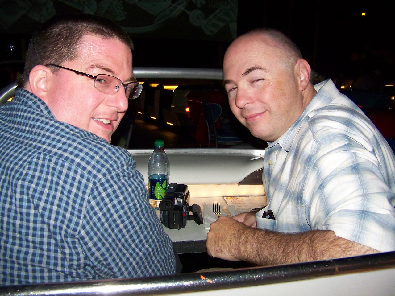 Jeff and Pat in the front seat of our car at the Sci-Fi Dine-In Theater.<br /> [Disney's Hollywood Studios]