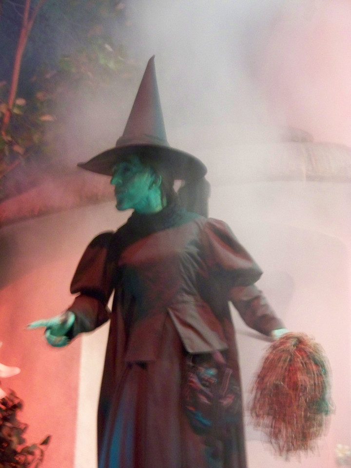 The Wicked Witch of the West is an advanced animatronic figure with very lifelike motion.<br /> After the Wizard of Oz scene, the vehicle goes into a theater where you see clips from a whole slew of movies, and then it returns to the loading area.  What a terrific ride!<br /> [Disney's Hollywood Studios - Great Movie Ride]