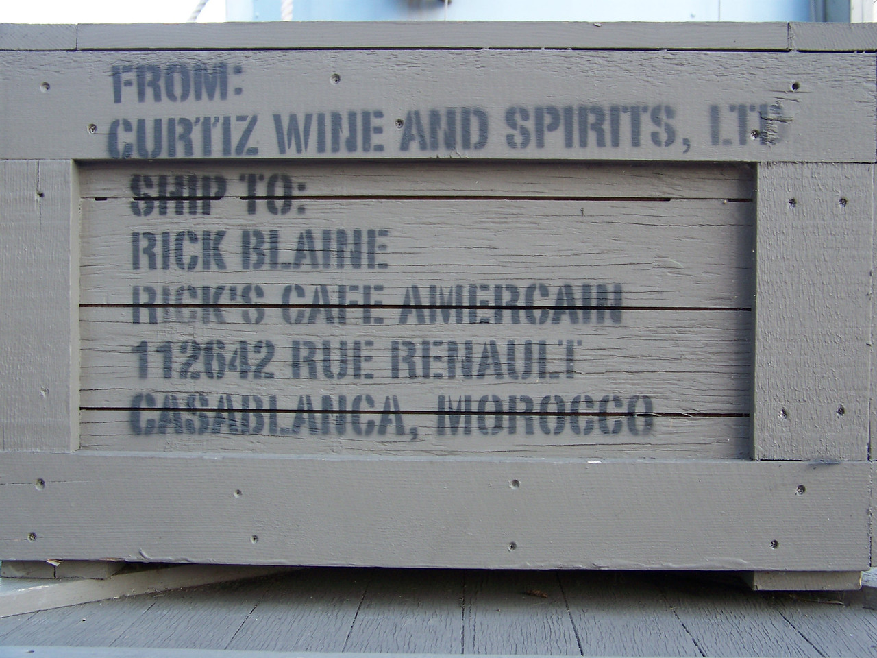 This crate is a reference to Casablanca--Rick Blaine was Humphrey Bogart's character, and Michael Curtiz directed the film.<br /> [Disney's Hollywood Studios]