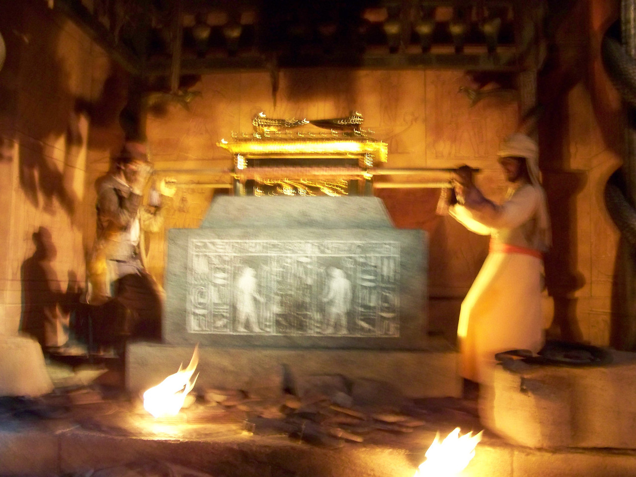 Indiana Jones and his good friend Sallah discover the golden relic in a scene from Raiders of the Lost Ark.  Watch out for those snakes!<br /> [Disney's Hollywood Studios - Great Movie Ride]