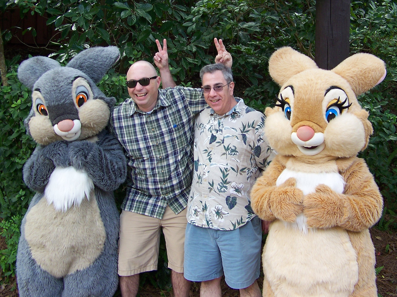 In Camp Mickey-Minnie, Dave and Pat pose with Thumper (at left) and Miss Bunny from Bambi.  Bunny ears for all!<br /> [Disney's Animal Kingdom]
