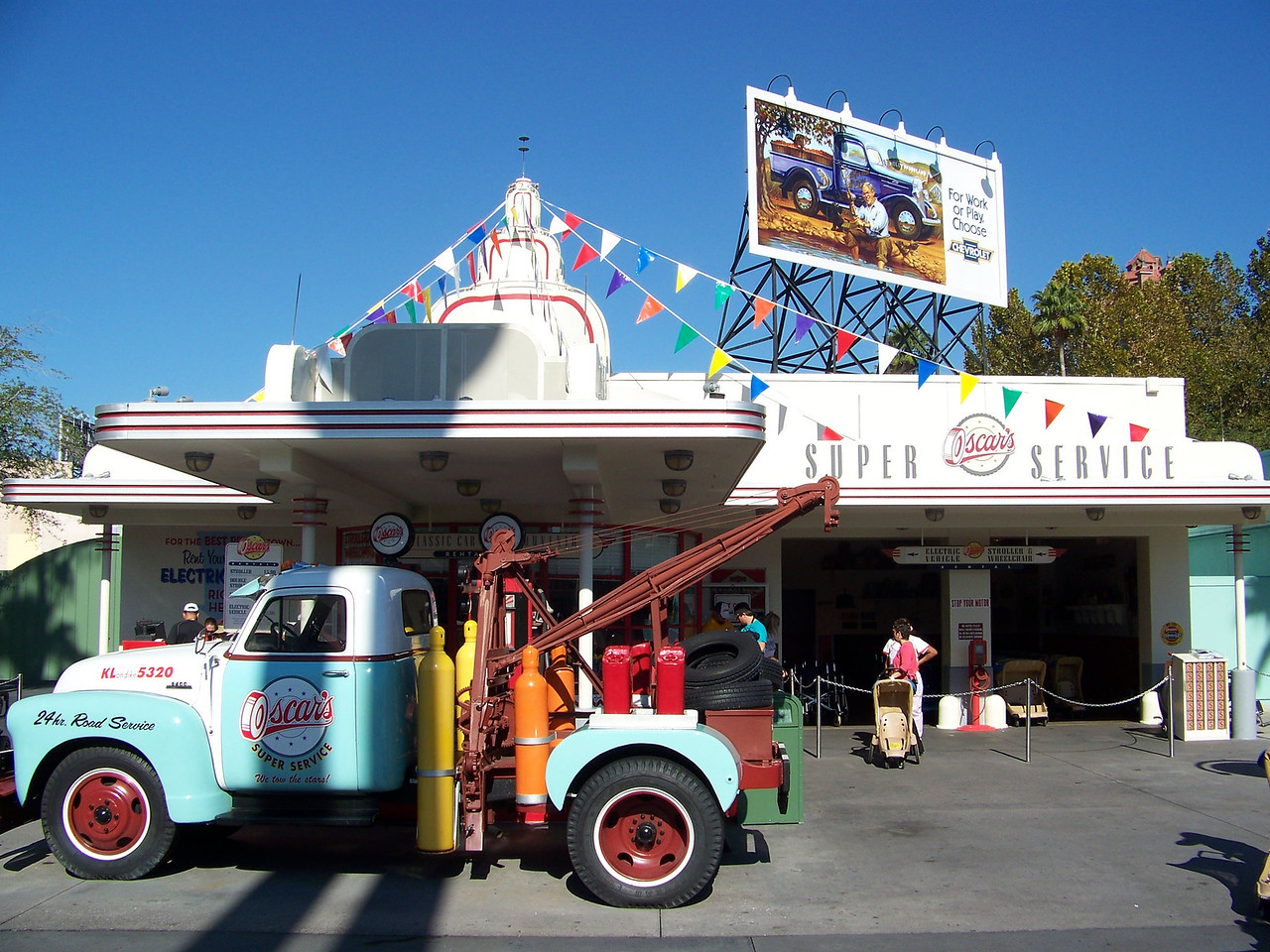 Also found near the park's entrance, Oscar's Super Service isn't really a gas station.  This is where you can rent strollers and lockers.<br /> [Disney's Hollywood Studios]